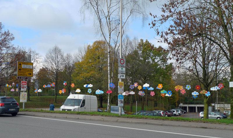 """Gmünder Grüße"" an der Kreuzung Fellbacher Straße/Remstalstraße"