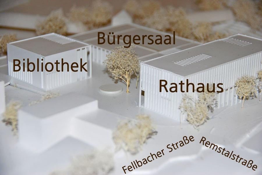So plant der Siegerentwurf die drei neuen Gebäude auf dem Rathausareal.