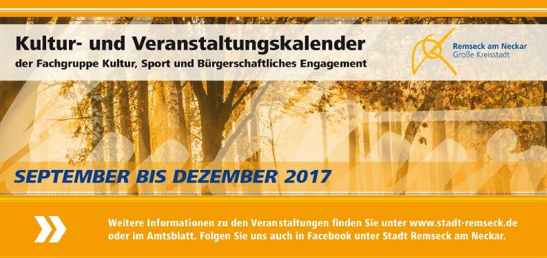 Veranstaltungskalender September - Dezember 2017