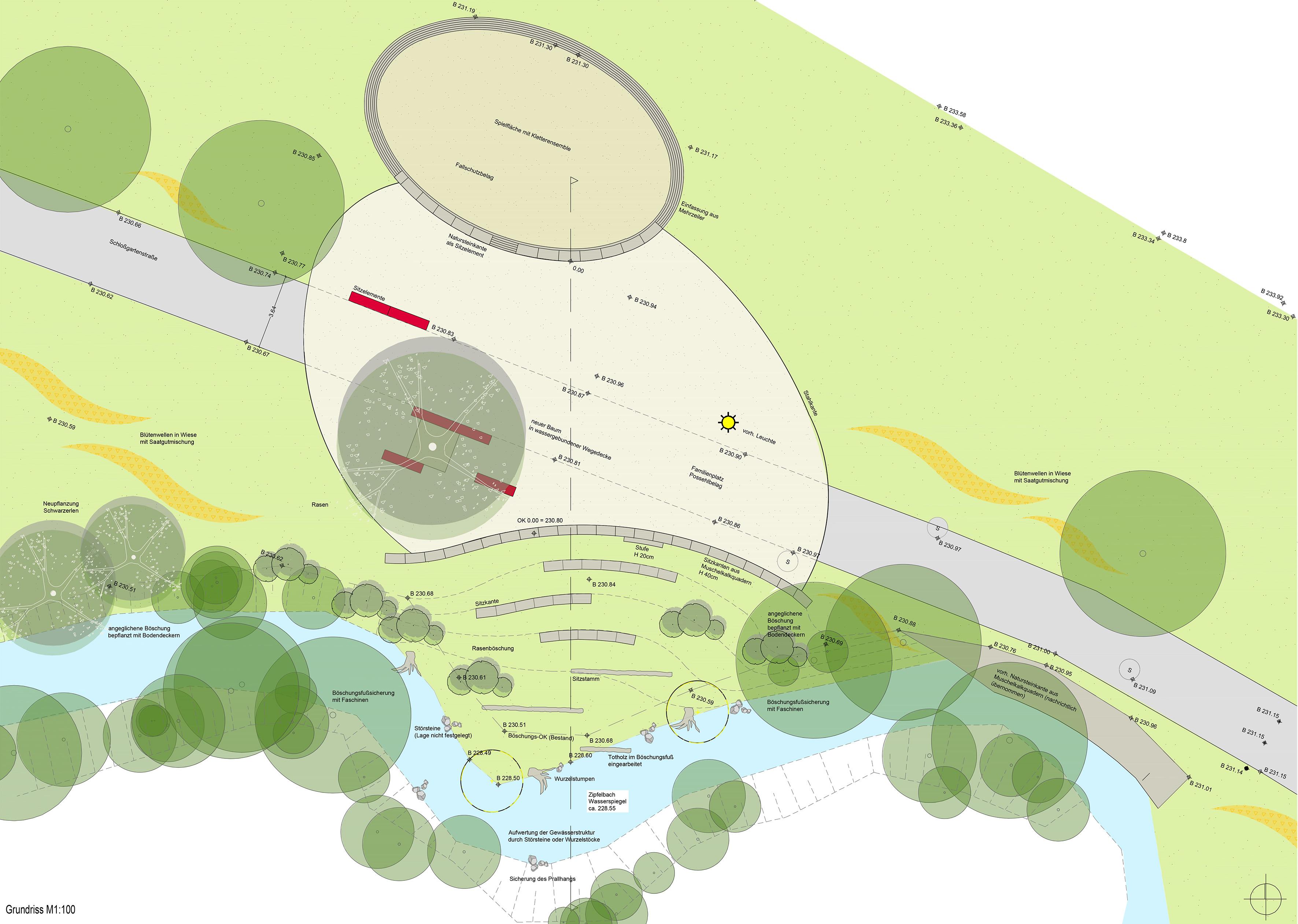 Übersichtplan Umgestaltung Schlossgartenareal  (Entwurf »familienplatz am Zipfelbach« [mundsinger + hans freie landschaftsarchitekten]