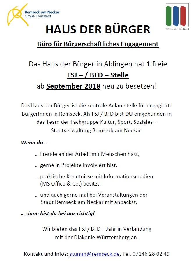FSJ/BFD im Haus der Bürger 2018/19