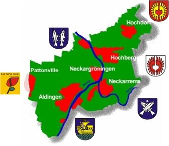 Karte der Stadtteile