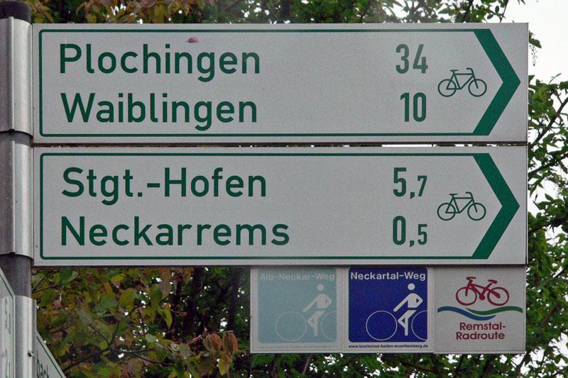 Radwege Wegzeiger