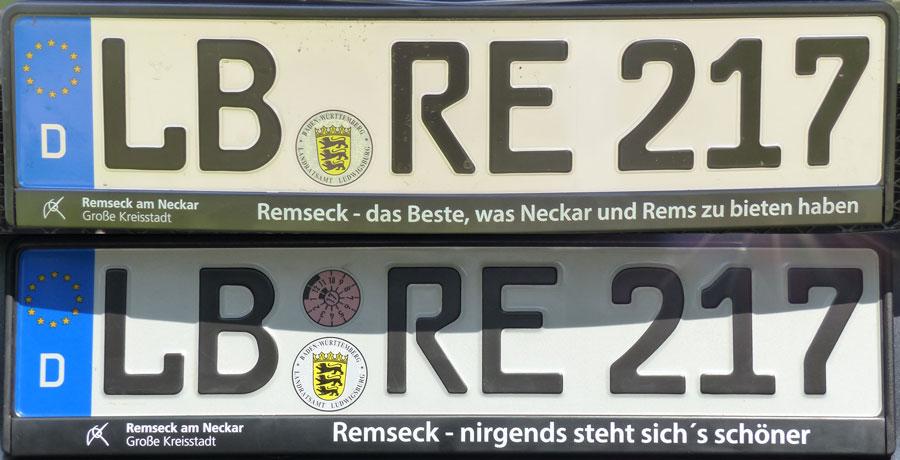 Kfz-Kennzeichenhalter für Autos aus Remseck am Neckar