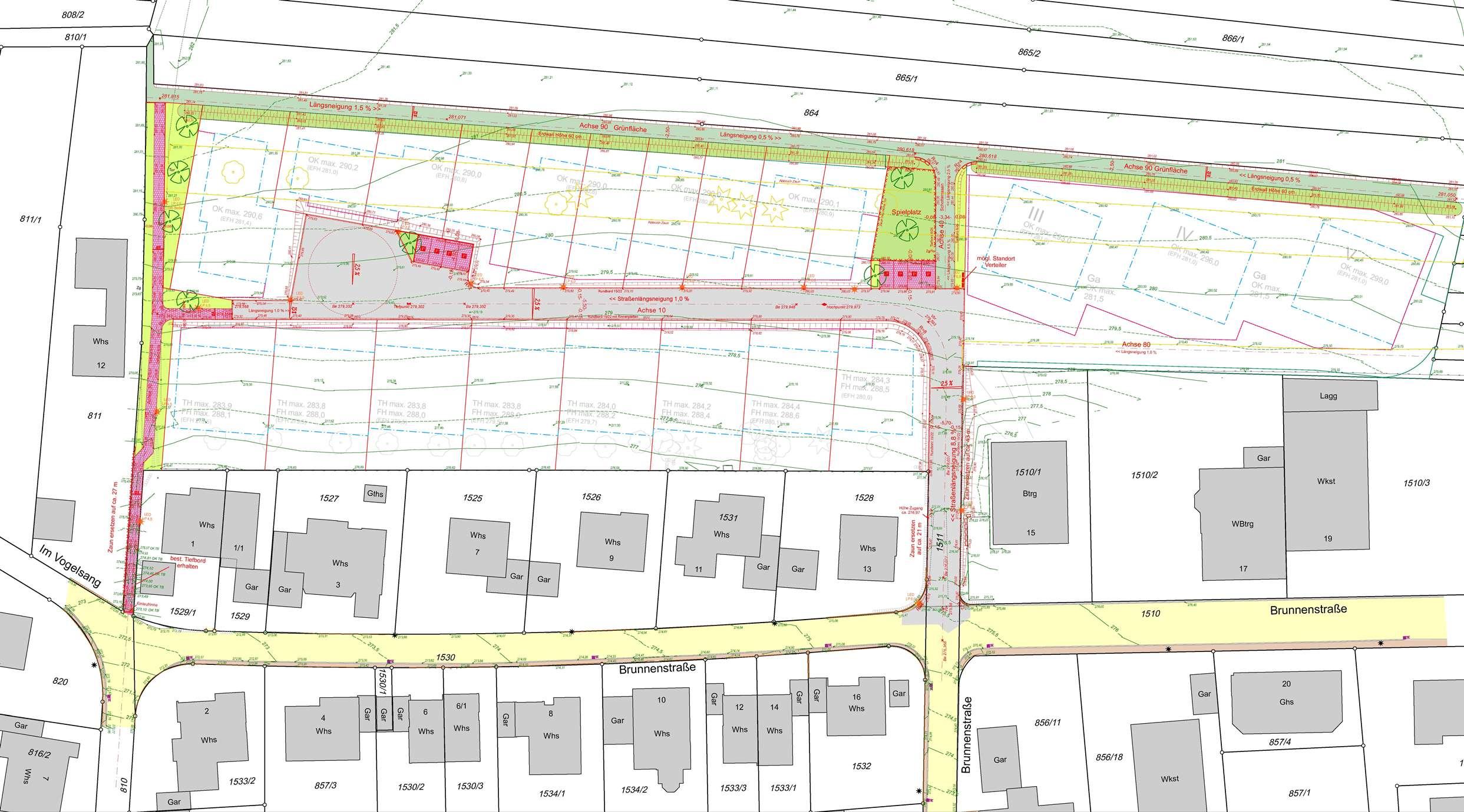 Lageplan Erschließung Baugebiet »Nördlich Brunnenstraße«
