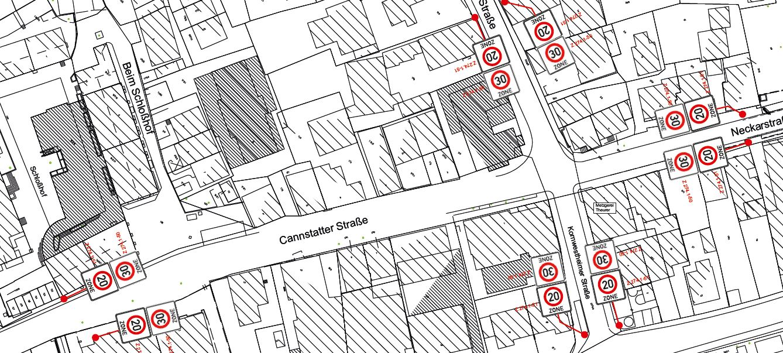 Verkehrsberuhigter Geschäftsbereich in Aldingen. Grafik: Stadt Remseck am Neckar