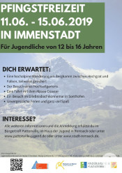 Plakat Pfingstferien 19