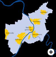 Grafik Stadtteile Remseck am Neckar