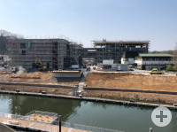 Baustelle Neubau Rathaus-Stadthalle-Kubus in Remseck am Neckar, April 2019 | Foto: Stadt Remseck am Neckar