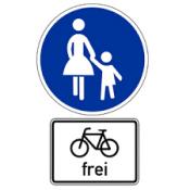 Schild Fußweg Rad frei