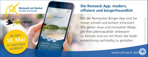 Ab dem 10. Mai 2019 ist die Remseck App im App-Store abrufbar | Stadt Remseck am Neckar